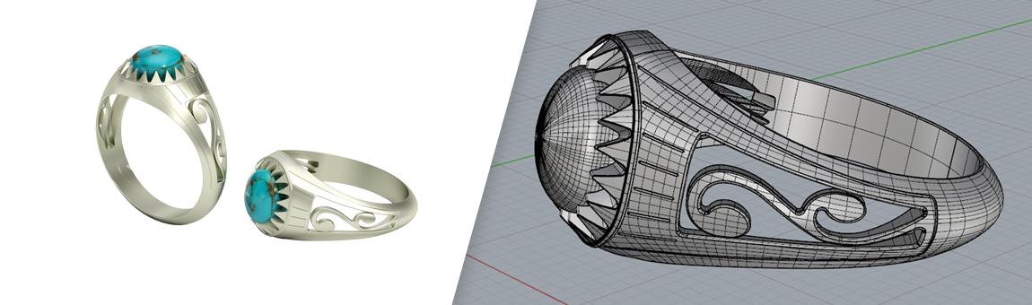 طراحی سه بعدی انگشتر فیروزه با راینو