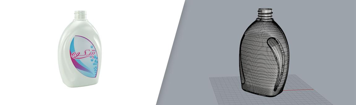 طراحی سه بعدی بطری مواد شوینده با راینو