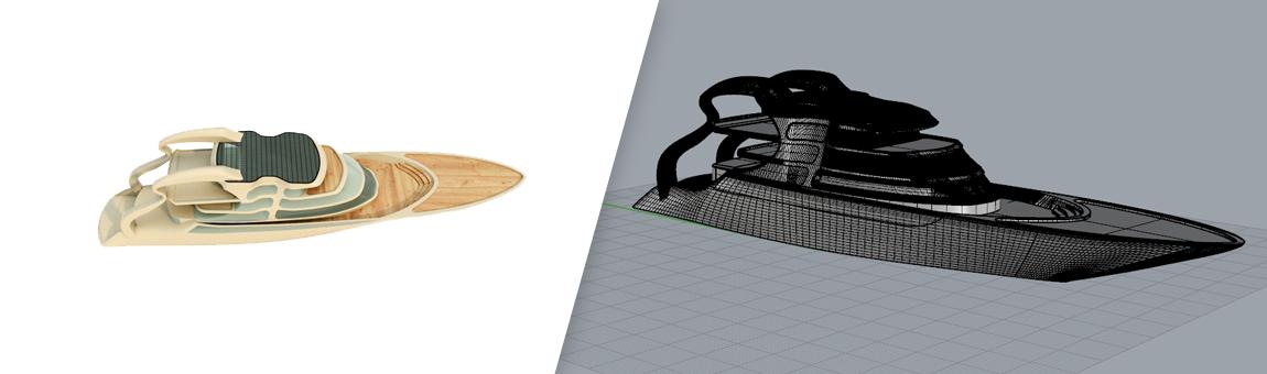 طراحی سه بعدی قایق تفریحی با راینو