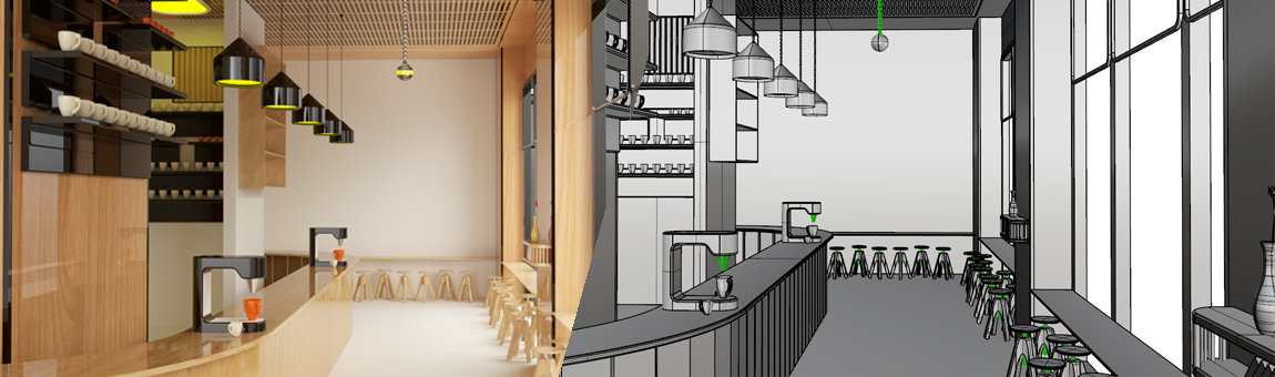 طراحی سه بعدی فضای کافی شاپ با راینو